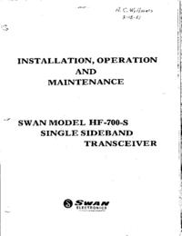 Service- und Bedienungsanleitung Swan HF-700-S