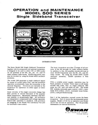 Service and User Manual Swan 500