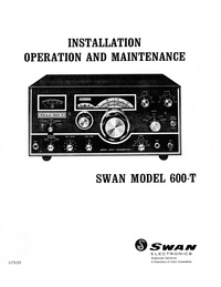 Service and User Manual Swan 600-T
