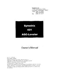 Service and User Manual Symetrix 421