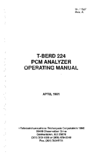 User Manual TTC T-BERD 224