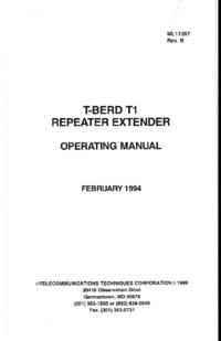 Руководство пользователя TTC T-BERD T1