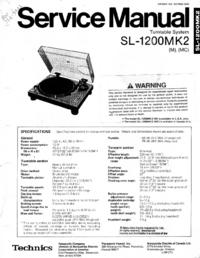 Instrukcja serwisowa Technics SL1200-MK2