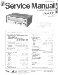 Service Manual Technics SA-600