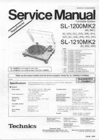 Serviço Manual Supplement Technics SL-1210MK2