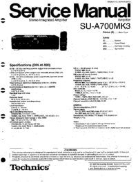 Servicehandboek Technics SU-A700MK3