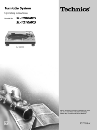 Manual del usuario Technics SL-1200MK5