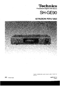 Technics SH-GE90 Equalizer User Manual