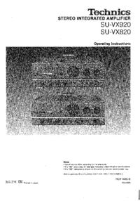 User Manual Technics SU-VX820
