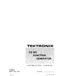 Servicio y Manual del usuario Tektronix FG 503