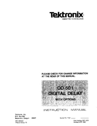 Service and User Manual Tektronix DD 501