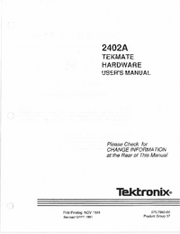 Serwis i User Manual Tektronix 2402A