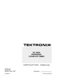 Serwis i User Manual Tektronix DC 505A