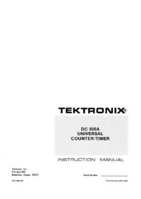 Service and User Manual Tektronix DC 505A