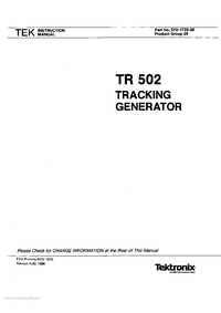 Serwis i User Manual Tektronix TR 502