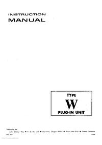 Service et Manuel de l'utilisateur Tektronix Type W