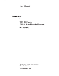 User Manual Tektronix TDS-200