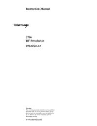 Service and User Manual Tektronix 2706