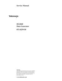 Service Manual Tektronix DG2040