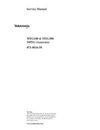 manuel de réparation Tektronix MTG300