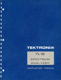 Service and User Manual Tektronix 7L12