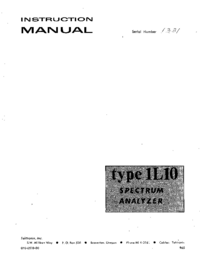 Serwis i User Manual Tektronix 1L10