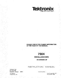 Руководство по техническому обслуживанию Tektronix 7904