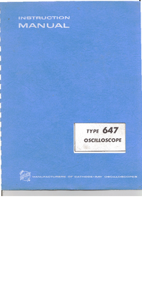 Service and User Manual Tektronix 647