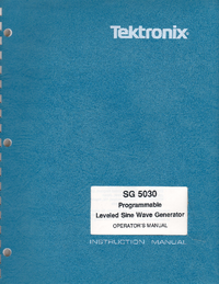 User Manual Tektronix SG 5030