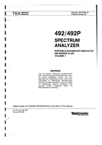 Service Manual Tektronix 492P