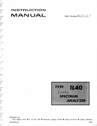 Service and User Manual Tektronix 1L40
