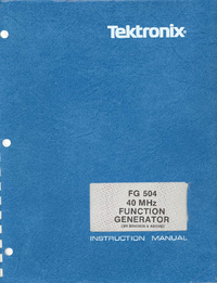 Serwis i User Manual Tektronix FG 504