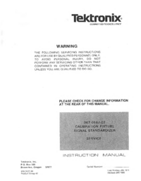 Service and User Manual Tektronix 067-0587-02