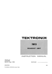 Service and User Manual Tektronix 7M13