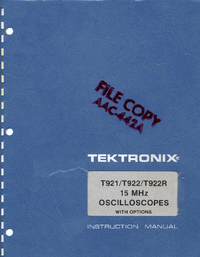 Service and User Manual Tektronix T922