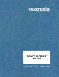 Serwis i User Manual Tektronix TM 504