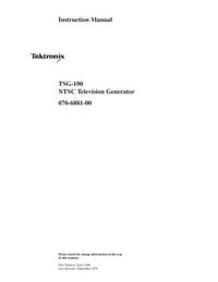 Serwis i User Manual Tektronix TSG-100