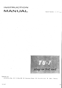 Service and User Manual Tektronix TU-7