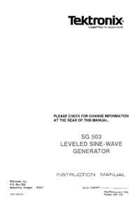 Service and User Manual Tektronix SG-503