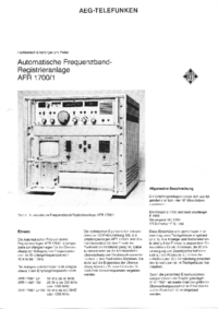 Gegevensblad Telefunken AFR 1700/1