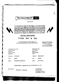 Service and User Manual Telequipment D65