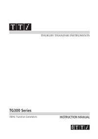 User Manual Thurlby TG300 Series
