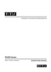 Instrukcja obsługi Thurlby TG300 Series