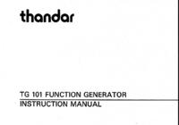 Manual do Usuário Thurlby TG 101
