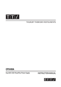 Instrukcja obsługi Thurlby CPX400A