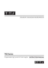 User Manual Thurlby TSX Series