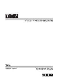 Bedienungsanleitung Thurlby WA301