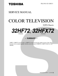 Service Manual Toshiba 32HFX72