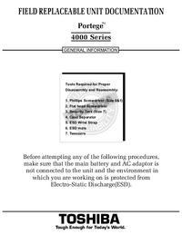 Руководство по техническому обслуживанию Toshiba Portege 4000 Series