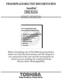 Руководство по техническому обслуживанию Toshiba Satellite 1900 Series